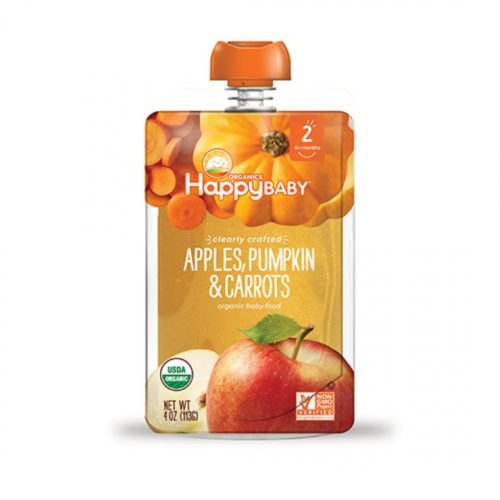 231169 4 oz Happy Family Organic Apples, Pumpkin & Carrots Stage 2 Pouch, For 6 plus Months