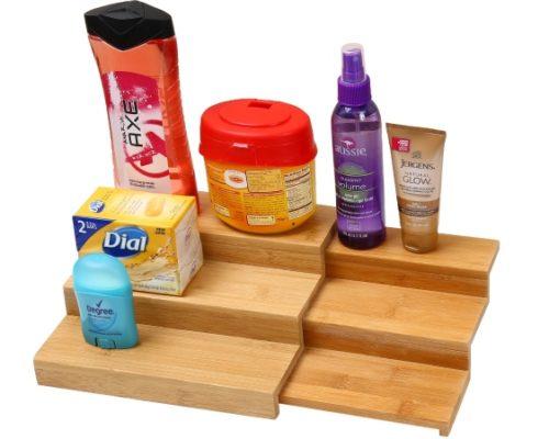 335 Bamboo Spice Rack Step Shelf Organizer
