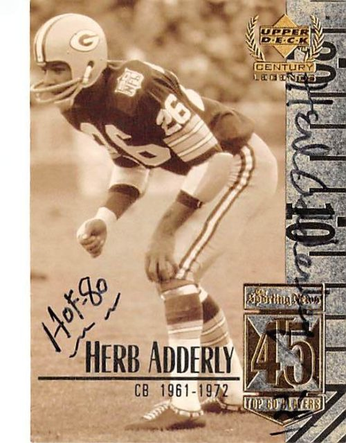 410147 Herb Adderley Autographed Football Card inscribed HOF 80 Green Bay Packers 1999 Upper Deck No.45 Top 50 Players