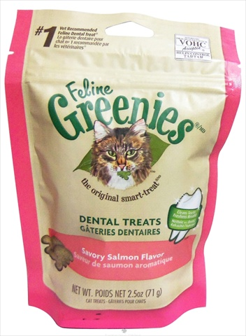 428572 Green Feline Dental Salmon Treats 2.5 Oz.