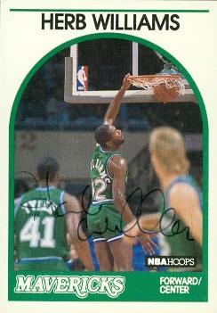 52013 Herb Williams Autographed Basketball Card Dallas Mavericks 1989 Hoops No .131