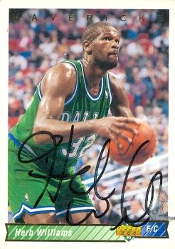 52015 Herb Williams Autographed Basketball Card Dallas Mavericks 1992 Upper Deck No .213