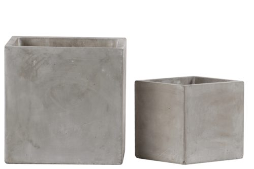 58001 Cement Square Pot with Smooth Design Body Natural Finish, Light Gray - Set of 2