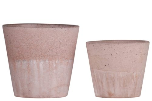 58101 Cement Round Pot with Cracked Design Body & Tapered Bottom Washed Finish - Apricot