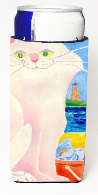 6018MUK Big White Cat At The Beach Michelob Ultra s For Slim Cans - 12 oz.