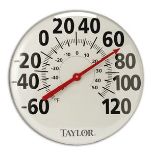 -681 18 in. Dial Metal Patio Thermometer
