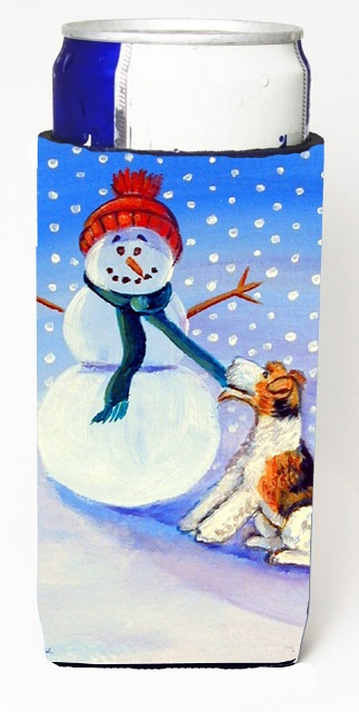 7156MUK Snowman With Fox Terrier Michelob Ultra bottle sleeves For Slim Cans - 12 oz.