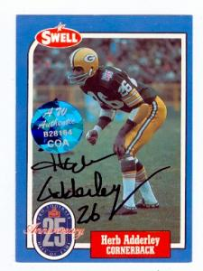 72559 Herb Adderley Autographed Football Card Green Bay Packers 1988 Swell Football Greats No . 6 Aw Authentication Hologram On Front