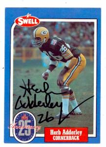 72560 Herb Adderley Autographed Football Card Green Bay Packers 1988 Swell Football Greats No . 6