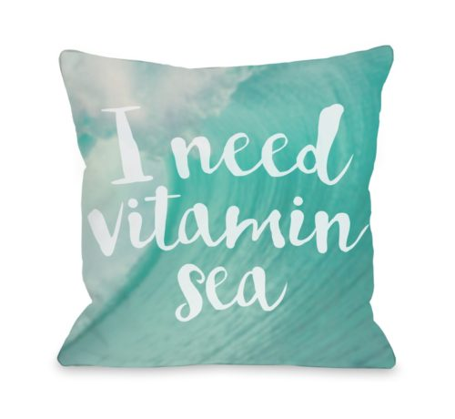 74999PL16 16 x 16 in. Vitamin Sea Pillow - Teal