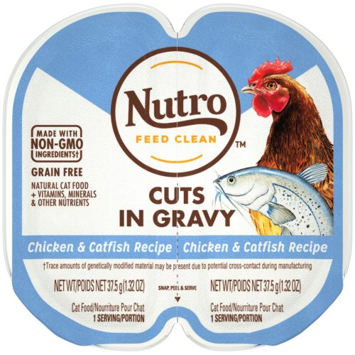 792314 2.6 oz Perfect Portions Real Chicken & Catfish Recipe Cuts in Gravy Cat Food