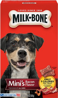 799764 36 oz Milk-Bone Mini s Bacon Flavor Biscuit Dog Treats - Case of 2
