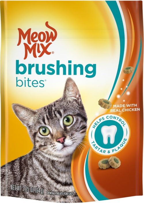 799951 2.25 oz Meow Mix Brushing Bites with Real Chicken Dental Cat Treats - Case of 5