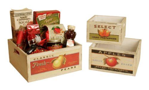 8115-S3 Square Vintage Fruit Wood Crates with Retro Fruit Artwork, Set of 3