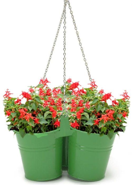8117E AG Enameled Galvanized Hanging 3 Planter Unit for 5.5 in. Plants, Apple Green