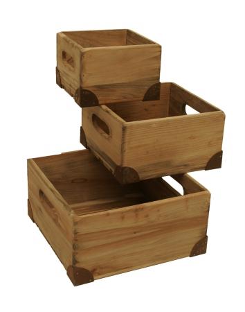 8183-S3 Weathered Pine Box, Small - Set of 3