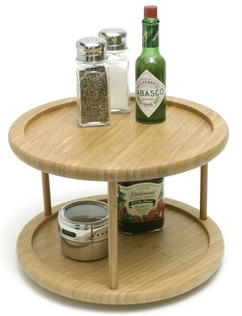 8302 10 in. Bamboo Two Tier Turntable