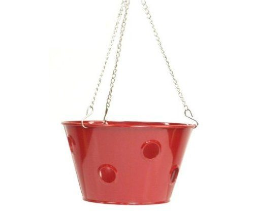8396E XR Enameled Galvanized Hanging Strawberry, Herb, Floral Planter - Red