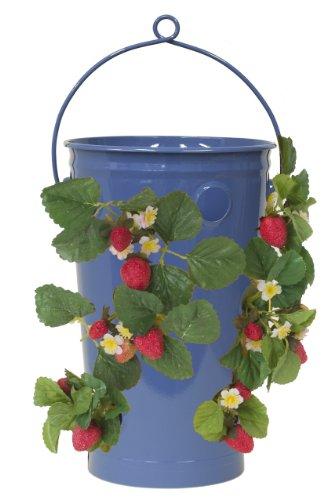 8493E B Enameled Galvanized Strawberry & Flower Planter, Blue