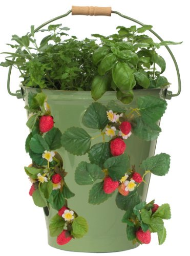 8494E SA Enameled Galvanized Strawberry & Flower Planter, Sage
