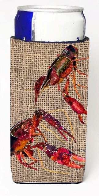 8739MUK Crawfish On Faux Burlap Michelob Ultra bottle sleeves For Slim Cans - 12 oz.