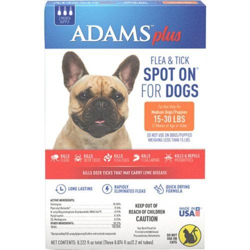 AD02157 15 -30 lbs Adams Plus Flea & Tick Spot on Dog - Pack of 3