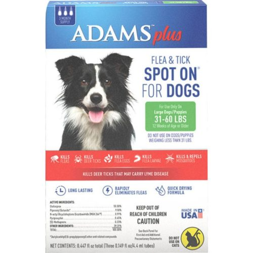 AD02160 31-60 lbs Adams Plus Flea & Tick Spot on Dog - Pack of 3
