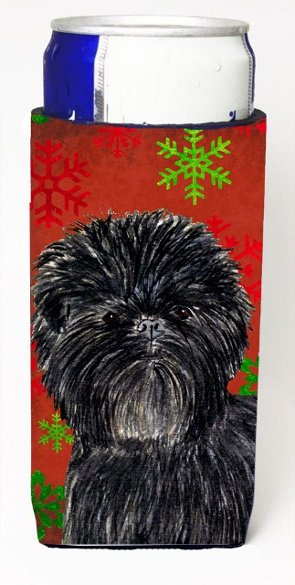Affenpinscher Red Green Snowflakes Christmas Michelob Ultra bottle sleeves For Slim Cans - 12 oz.