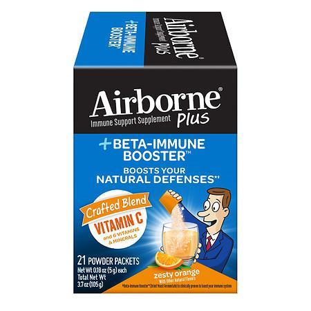 Airborne Plus Beta-Immune Booster Zesty Orange Powder Packets Zesty Orange - 3.7 oz x 21 pack