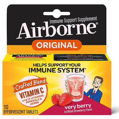 Airborne Vitamin C Immune Support Effervescent Tablets Very Berry - 10.0 ea