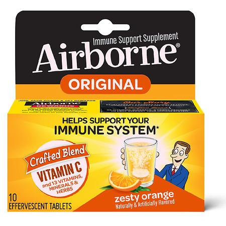Airborne Vitamin C Immune Support Effervescent Tablets Zesty Orange - 10.0 ea