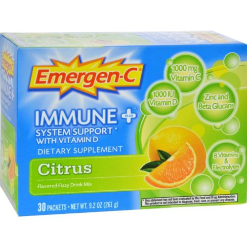 Alacer HG0760520 Emergen-c Immune Plus System Support with Vitamin D Citrus, 30 Packet
