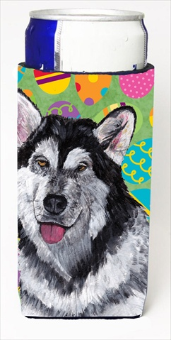 Alaskan Malamute Easter Eggtravaganza Michelob Ultra bottle sleeves For Slim Cans - 12 Oz.