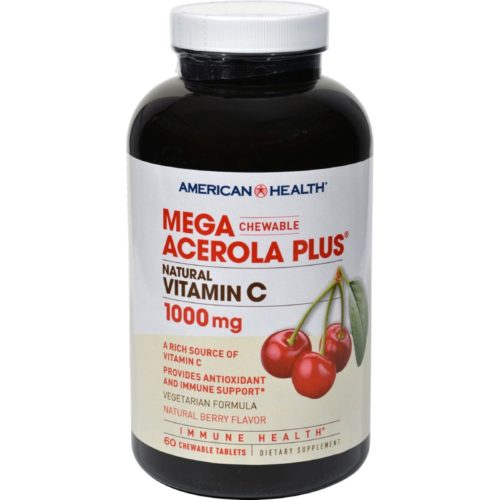 American Health HG0705848 Mega Acerola Plus Chewable Natural Berry, 60 Chewable Wafers