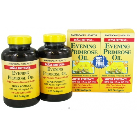 American Health Royal Brittany Evening Primrose Oil 1 300 mg 120 softgels twin pack buy one get one free 217196