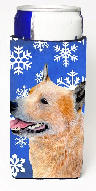 Australian Cattle Dog Winter Snowflakes Holiday Michelob Ultra bottle sleeves For Slim Cans - 12 oz.
