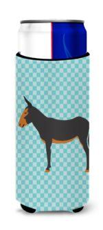 BB8029MUK Catalan Donkey Blue Check Michelob Ultra Hugger for Slim Cans