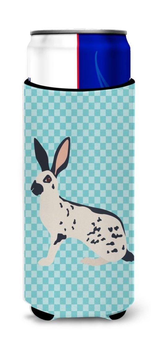 BB8135MUK English Spot Rabbit Blue Check Michelob Ultra Hugger for Slim Cans