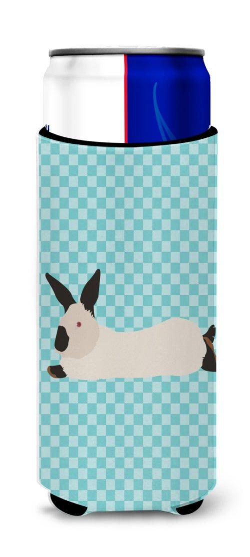 BB8141MUK California White Rabbit Blue Check Michelob Ultra Hugger for Slim Cans