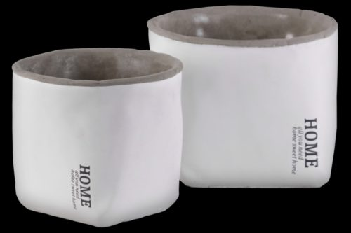 BM180702 Cement Round Pot with Home Label, Set of 2 - White Finish - 5.25 x 6.75 x 6.75 in.