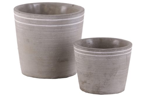 BM180704 Cement Small Round White Banded Rim Pot with Tapered Bottom, Set of 2 - Gray - 5 x 5.5 x 5.5 in.