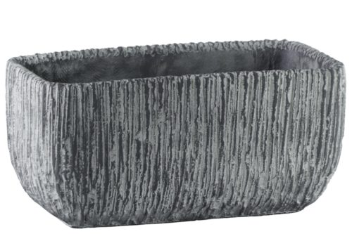 BM180814 Cement Broomed Finish Rectangular Pot with Tapered Bottom, Gray - 5.5 x 6 x 11.25 in.