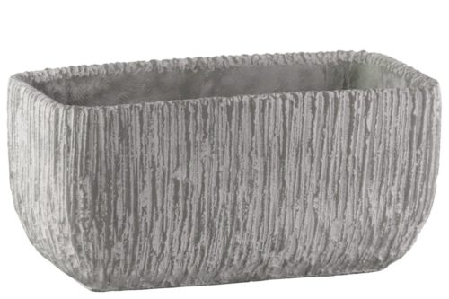 BM180815 Cement Broomed Finish Rectangular Pot with Tapered Bottom, Light Gray - 5.5 x 6 x 11.25 in.