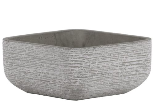 BM180820 Cement Broomed Finish Low Square Pot with Tapered Bottom, Light Gray - 4.5 x 9.25 x 9.25 in.