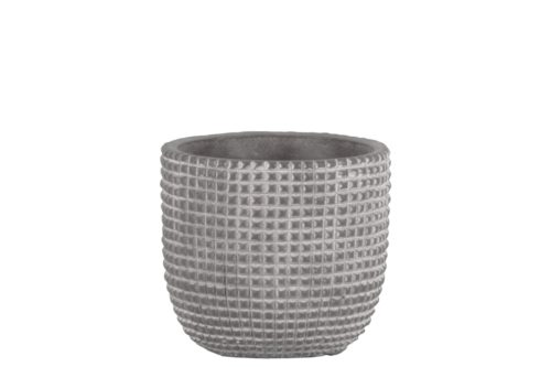BM180822 Cement Engraved Square Lattice Design Pot with Tapered Bottom, Light Gray - Small - 5.25 x 5.5 x 5.5 in.