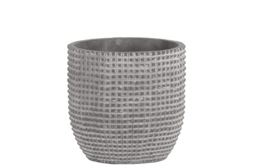 BM180824 Cement Engraved Square Lattice Design Pot with Tapered Bottom, Light Gray - Medium - 6 x 6 x 6 in.