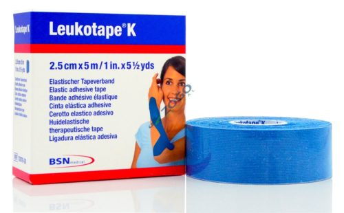 BSN Medical 7297820 1 in. x 5.4 yd Leukotape Kinesiology Elastic Adhesive Tape for Pain Relief, Blue