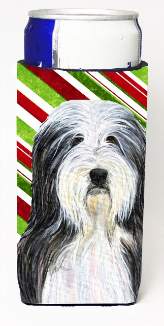 Bearded Collie Candy Cane Holiday Christmas Michelob Ultra s For Slim Cans - 12 oz.