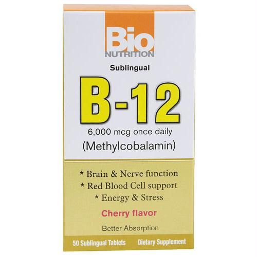 Bio Nutrition B12 Sublingual - 6000 mcg - 50 Tablets - 1500925
