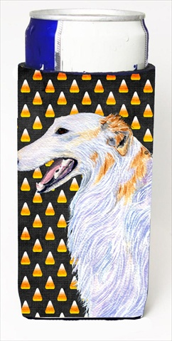 Borzoi Candy Corn Halloween Portrait Michelob Ultra bottle sleeves For Slim Cans - 12 Oz.